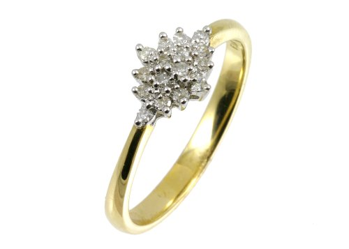 9ct Yellow Gold Diamond Cluster Ladies' Ring Size N