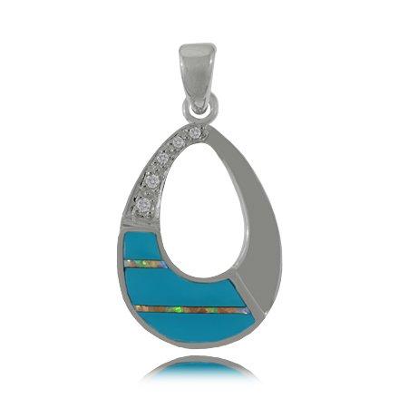 Turquoise Pendant - Open Oval - Sterling Silver w/ Opal