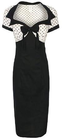 LINDY BOP CHIC VINTAGE 1950's STYLE BLACK PENCIL WIGGLE DRESS (20)