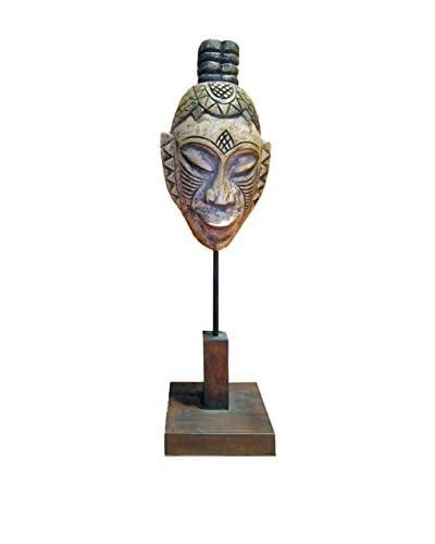 Asian Loft Vintage Primitive Carved Wooden Mask, Multi