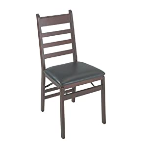 Wood-Frame Folding Chairs in Mahogany w Vinyl Seats - Set of 2 By Cosco