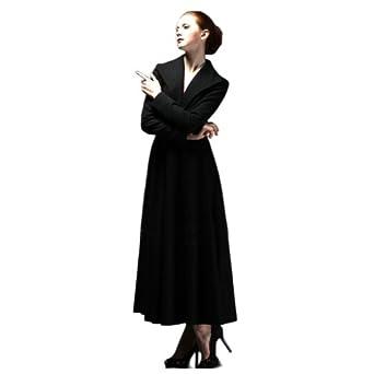 Teenloveme 2013 New Arrival Women's Fashion Long Sleeves Sheath Wool Coat Dress, Black, XS