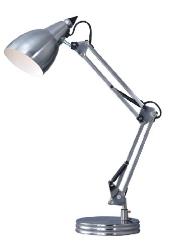 Park Madison Lighting PMD-4615-16 28-Inch Tall Incandescent Swing Arm Desk Lamp with Adjustable Column and Shade, Satin Nickel Finish