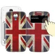 Retro British Flag Pattern Call Display Flip Leather Case + Plastic Replacement Back Cover with Sleep / Wake-up Function for Samsung Galaxy S IV / i9500