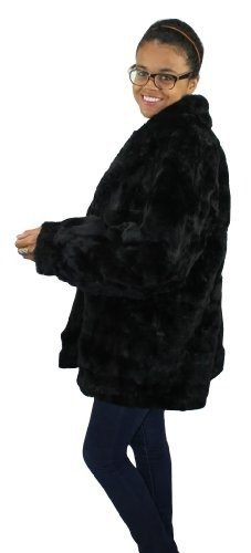 Bergama Plus Size Sheared Rex Rabbit Sections Jacket - XXXX-Large - Black