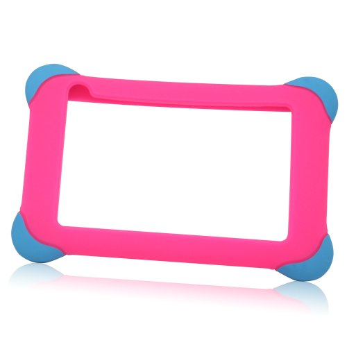 "TabSuit 7"" Pink Silicone Rubber Gel Soft Skin Case Cover case for 7"" Dragon Touch Dual Core A7 and AKASO KingPad A7 Tablet [By TabletExpress]"