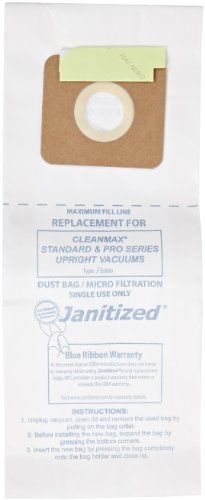 Janitized Jan-Cmpro-2(10) Paper Premium Replacement Commercial Vacuum Bag, For Cleanmax, Tennant, Tornado Vacuum Cleaners (Case Of 100)