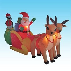 8.5 Foot Christmas Inflatable Santa Claus on Sleigh + 2 Reindeers + Penguin