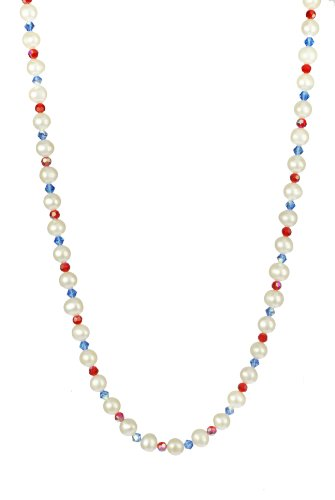 White Potato Freshwater Pearl and Swarovski Elements Blue Bicone and Red Faceted Round Bead Necklace with Gold Plated Sterling Silver Clasp, 18
