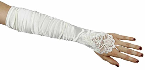 Grace Fingerless Long Gathered and Beaded Gloves Greatlookz Colors: Ivory