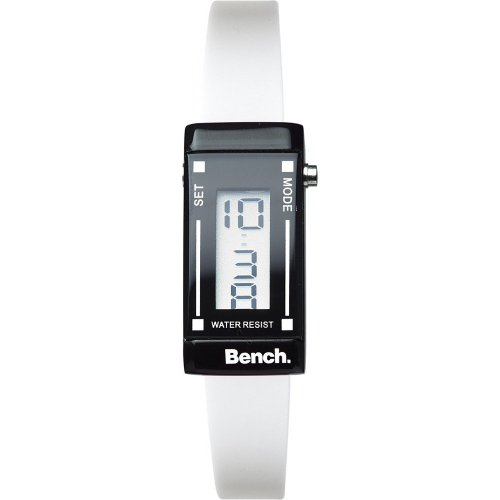 Bench Women's Quartz Watch with LCD Dial Digital Display and White Plastic or PU Strap BC0395WHA