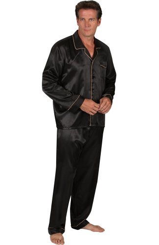 Del Rossa Men's Satin Pajamas, Long Button-Down Pj Set