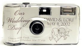 10 Pack Personalized Lovebirds Wedding Cameras - Matching Table Cards Included - 27 Exposures - Built-in-flash - 35mm - 400 ISO Film