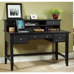 "The Bedford Executive Desk with Hutch (Ebony) (40""H x 54""W x 28""D)"