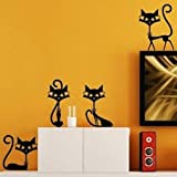 4 Black Cat Wall Sticker Living Room Decor TV Wall Decal Child Bedroom Wallpaper