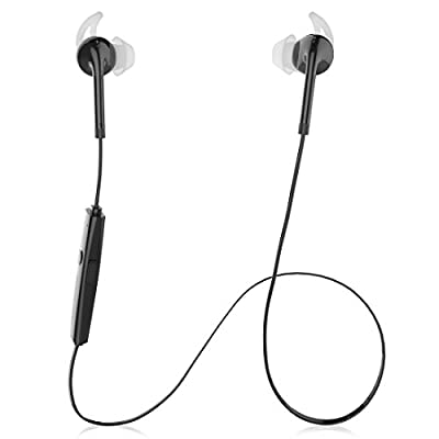 Audiosharp Black Wireless Bluetooth 4.1 Stereo Music Sport Gym Handsfree Hands-free In-ear Headsets Headphones Earphones Earbuds Earpiece with Microphone Mic For iPhone 6 iPhone 6 Plus 5S 5C 5 4S, Samsung Galaxy Note 4 3 2 1, Samsung Galaxy S5 S4 S3 S2, i