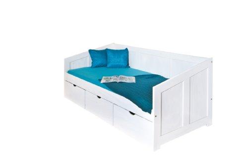 20900190 Bett 90x200 cm Kinderbett Funktionsbett Stauraumbett massiv Schubladen, weiß