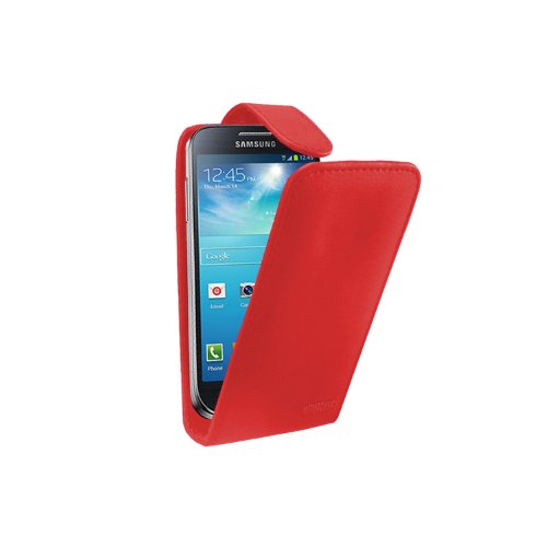 Rot Leder Aufklappbare Tasche Hülle für Samsung Galaxy S4 Mini (GT-i9190 / i9192 Dual Duos / i9195 LTE) - Flip Case Cover + 2 Displayschutzfolie