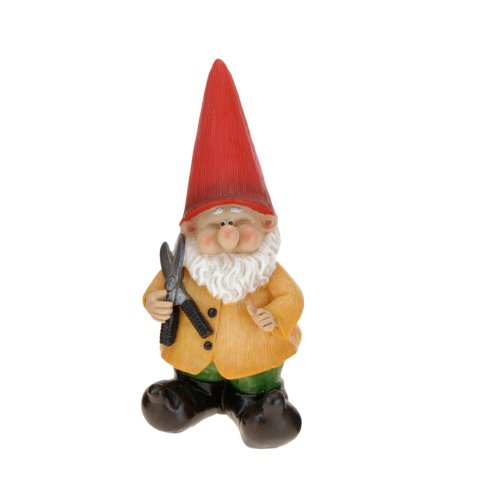 With Shears Medium Resin Garden Gnome Outdoor Ornament Gnomes Toadstool Statue