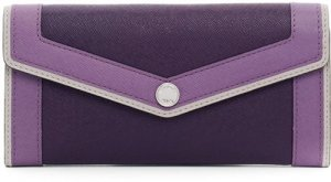 Michael Kors Leather Saffiano Color Block Overlay Carryall Wallet Purple Grey