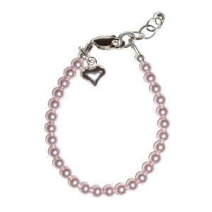 Serenity 2 - Pink Sterling Silver Childrens Girls Bracelet Jewelry strand of tiny light pink pearls accented with a darling little silver puff heart - priceless! Size Medium 1-5 years. Perfect for Christmas, First Communion, Easter, Sunday Dress, Christening or Birthday.