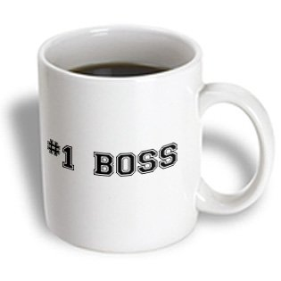 3Drose Mug_151594_1 No.1 Boss Number One Best Greatest Boss Work And Office Gifts Fun Flattering Gifts Black Ceramic Mug, 11-Ounce