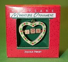 Vintage Hallmark Keepsake Miniature Christmas Ornament Joyous Heart 1988 in Box