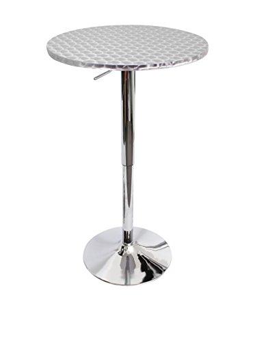 Lumisource Round Bistro Bar Table, Silver Swirl