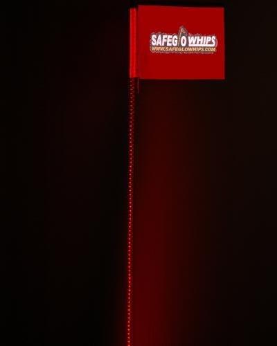 Safeglo 4 Foot Red Led Whip Antenna For Sandrail, Dunebuggy, Atv, Polaris Rzr, Rhino, Teryx, Offroad Vehicle