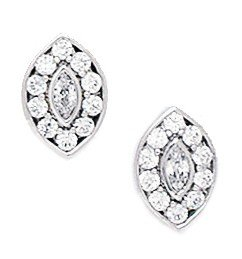 14ct White Gold CZ Medium Multistone Marquise Fancy Post Earrings - Measures 10x7mm