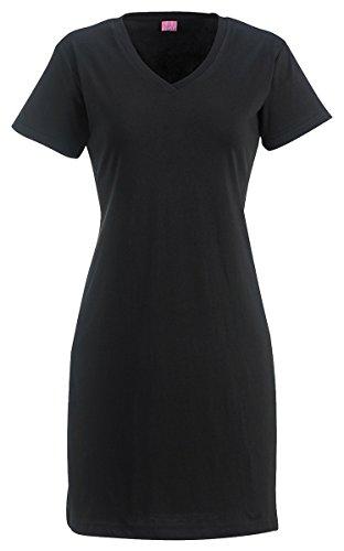LAT Women's Fashionable Ribbed T-Shirt Dress, Black, Small/Medium