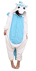 Blue Unicorn Kigurumi Pajamas Adult Anime Cosplay Halloween Costume ,size L (70