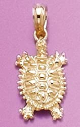 Gold Animal Charm Pendant Land Turtle 2-D