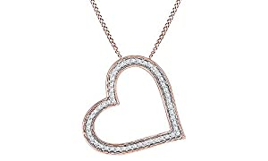 Round White Natural Diamond Heart Pendant in 14k Rose Gold Over Sterling Silver (1/6 cttw)