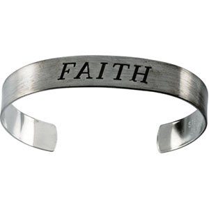 Sterling Silver Antiqued Faith Cuff Bracelet 9.5 - JewelryWeb