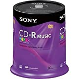 100 SONY CD-R Music Disc, Digital Audio Recordable For CD Recorders and Computer Writer, 5 Assorted Color, 80 min