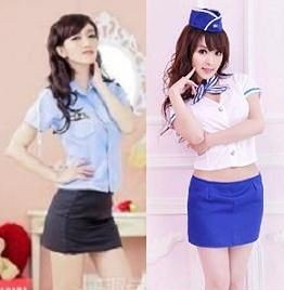 stewardess sexy miniskirt police costume and lascivious
