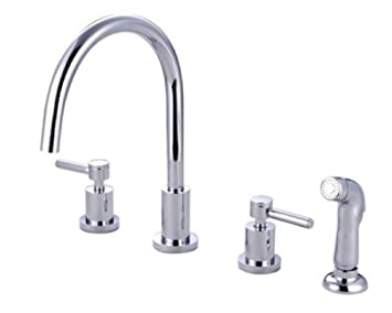 Kingston Brass KS8721DL Concord Widespread Kitchen Faucet With Sprayer, Polished Chrome