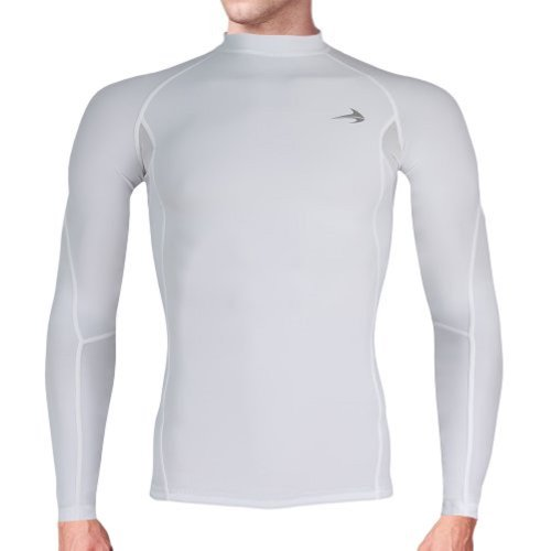 Compression Shirt Long Sleeve (White - M) Men's Cold Top, Best for Gym Running, Basketball