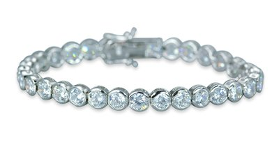 Must Have Sparkling Round Cut White CZ Gemstone Tennis Bracelet in Sterling Silver