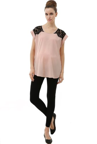 """Momo Maternity """"Sia"""" Contrast Lace Trimmed Crepe Blouse - Blush M front-1044825"""
