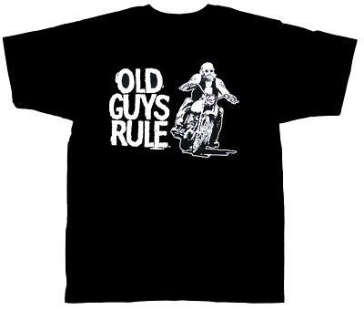 Old Guys Rule T-Shirt Retired Biker Design (XXL/Black)
