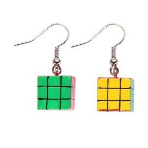 Retro Colourful Rubix Puzzle Cube Style Drop Earrings on Card