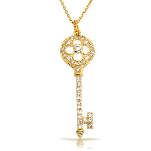 Bling Jewelry Gold Vermeil Pave CZ Vintage Clover Key Pendant Necklace