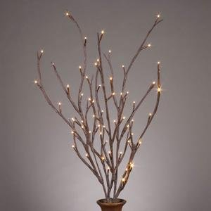 Prelit Art Christmas Trees - Gerson 37930 - 39&quot; Outdoor Brown Wrapped Electric LED Lighted Branch (60 Warm White Lights)
