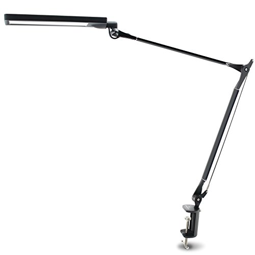 BYB E476 Metal Architect Swing Arm LED Desk Lamp, Dimmable LED Table Lamp with Clamp, Pro Eye-protection Task Lamp, 4 Lighting Modes, 6 Dimming Levels, Touch-sensitive Memory Control Panel, Black (Function Led Eye Protection compare prices)