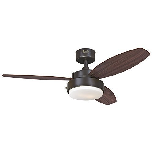 7201900 Alloy Two-Light 42 Reversible Three-Blade Indoor Ceiling Fan ...