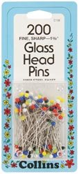 Dritz Colored Glass Head Pins Size 22 200/Pkg C108; 2 Items/Order