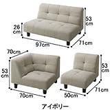 セシール家具 椅子 ソファー セット 脚の取り付け コーナーソファ3点セット グレーベージュ色