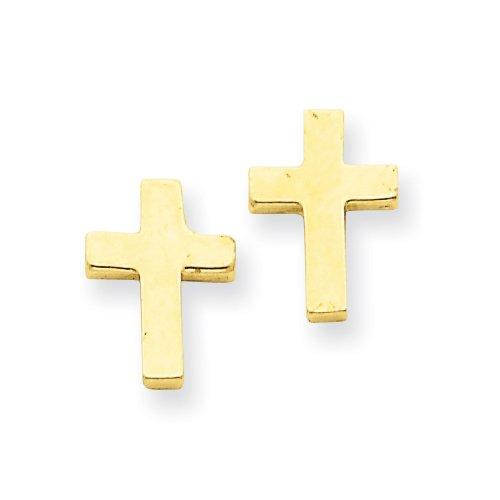 14k Polished Cross Earrings